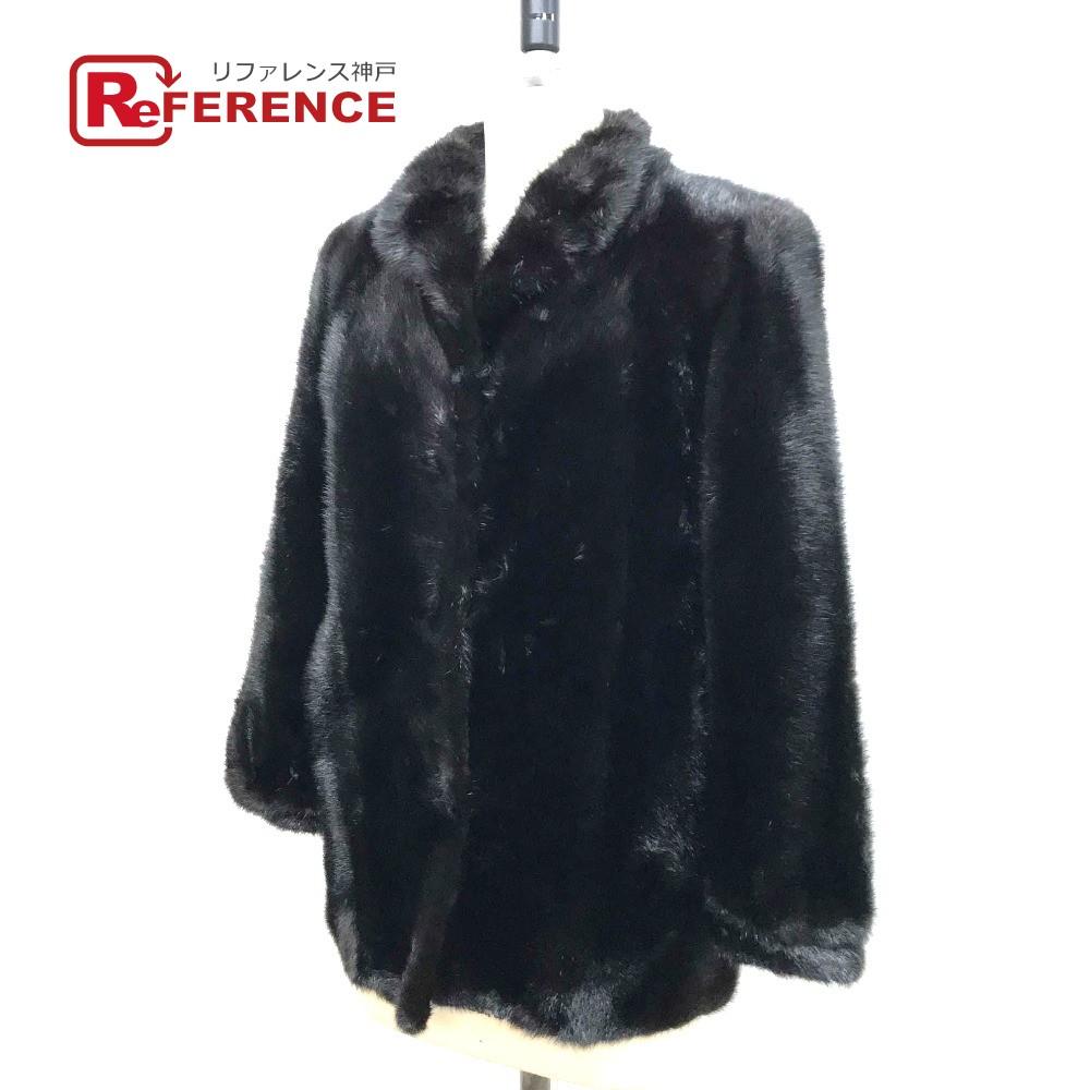 SAGA サガ ハーフコート 毛皮 サガミンク 逆毛 ファーコート ブラックミンク ブラック レディース【中古】