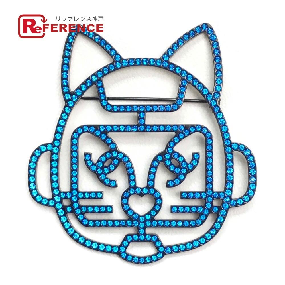 CHANEL シャネル アクセサリー キャットロボット 猫モチーフ B17S ブローチ ラインストーン ブルー レディース 新品同様【中古】