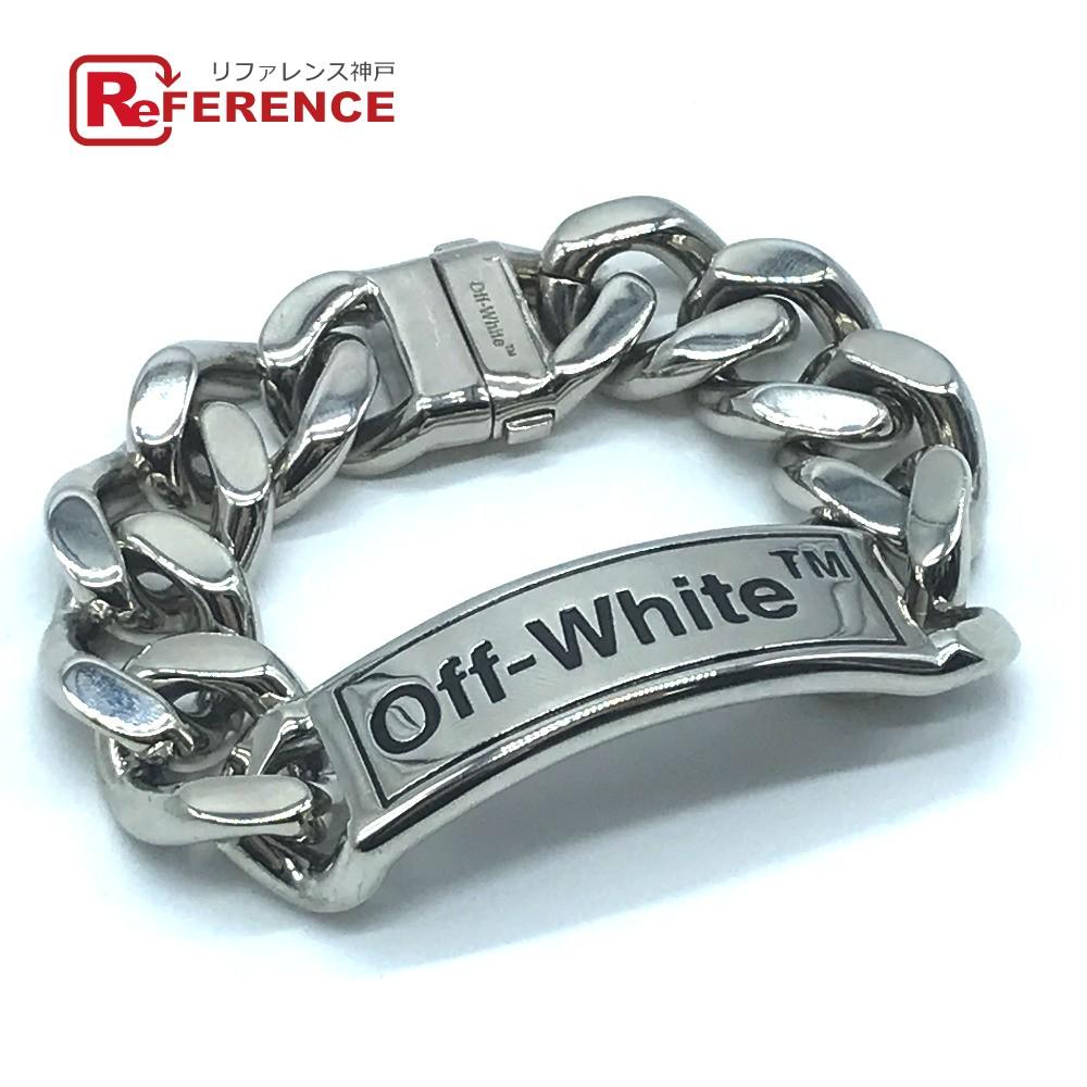 OFF-WHITE オフホワイト OWOA007F19G190501000 アクセサリー 腕輪 腕飾り バングル メンズ レディース ロゴ プレート ブレスレット メタル シルバー レディース 未使用【中古】