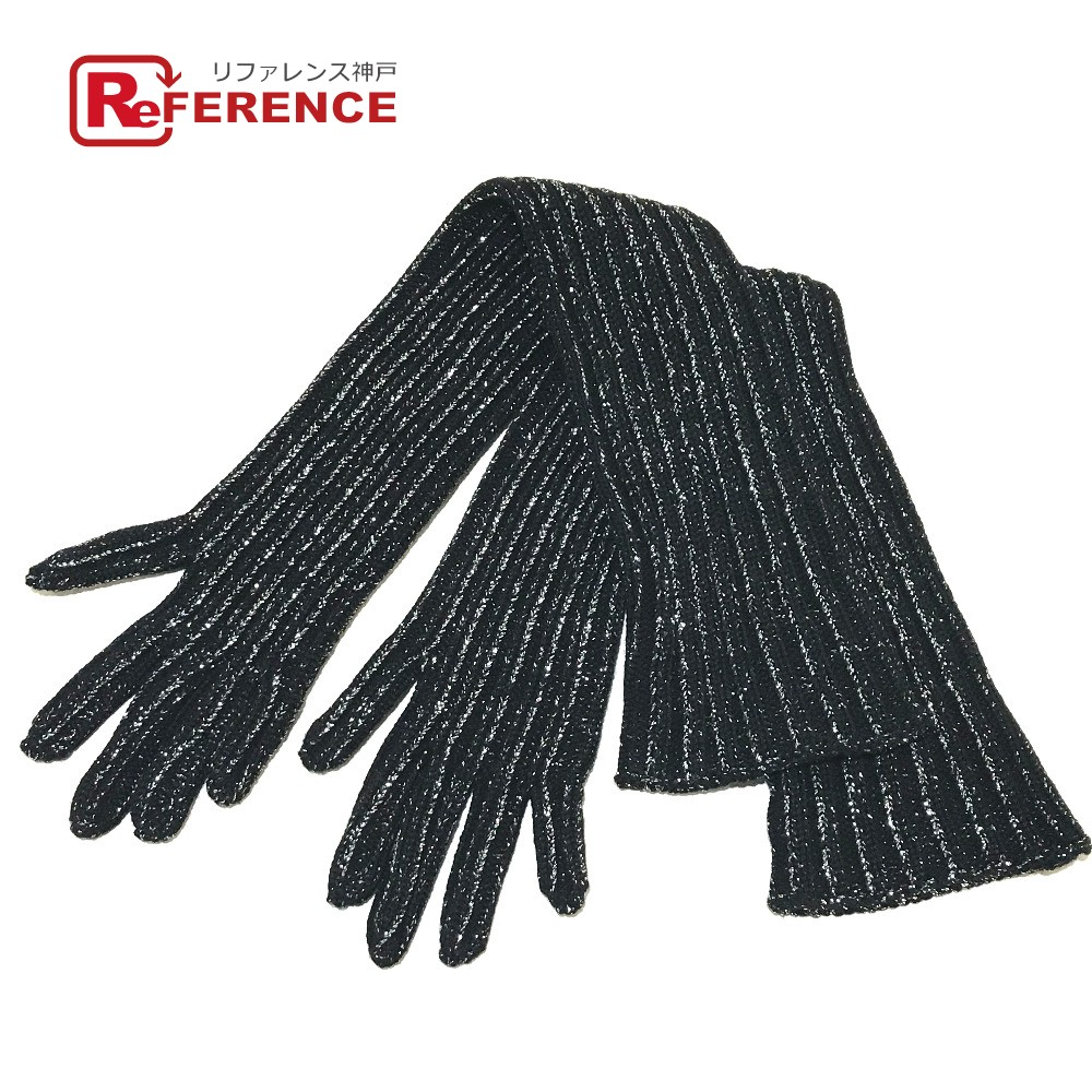 PRADA プラダ 27157 ラメ風 ロング手袋 ブラック×シルバー レディース【中古】