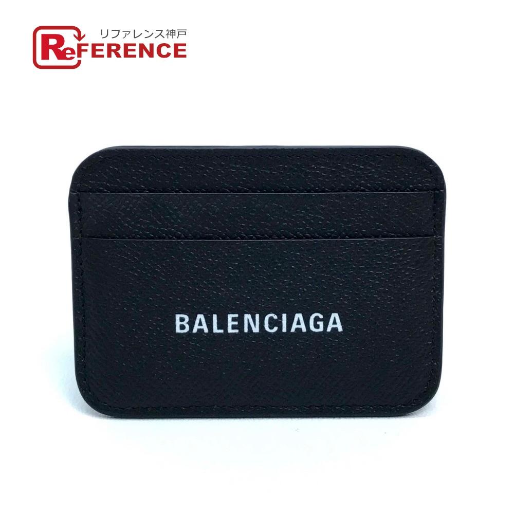 BALENCIAGA バレンシアガ 593812 ロゴ 名刺入れ 定期入れ パスケース キャッシュ カードホルダー メンズ レディース カードケース レザー ブラック ユニセックス 新品同様【中古】