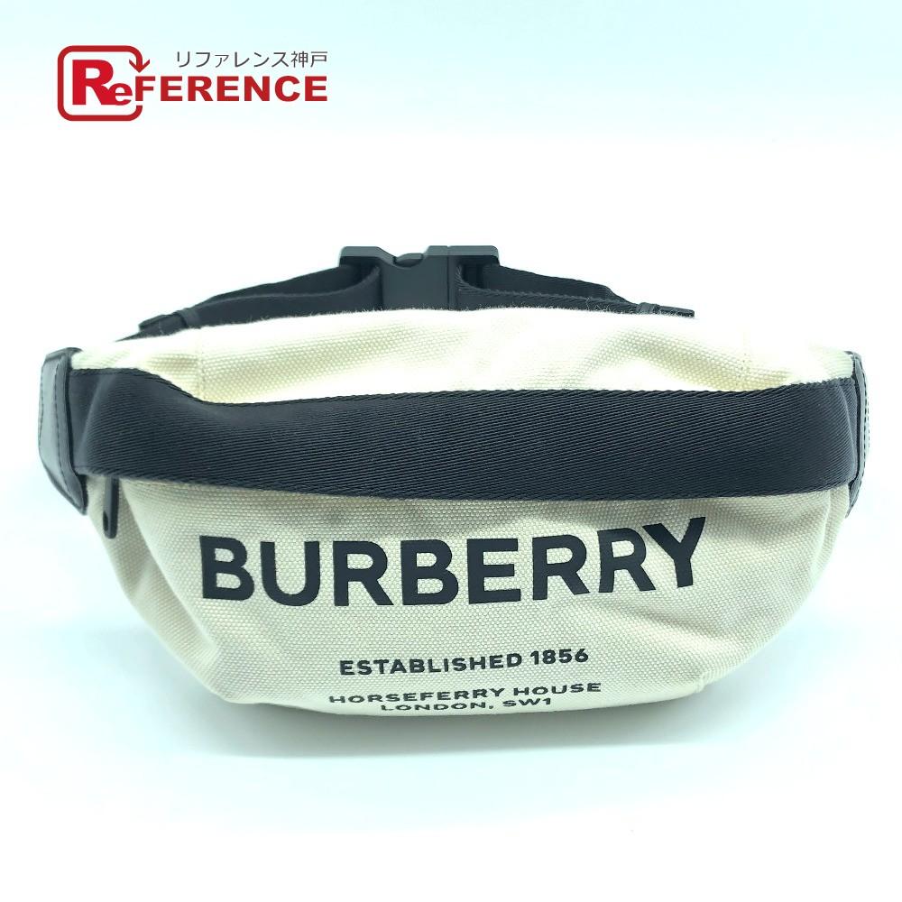 BURBERRY バーバリー 8014641 ウエストバッグ ロゴ ヒップバッグ・ウエストバッグ キャンバス×レザー ナチュラル×ブラック メンズ【中古】