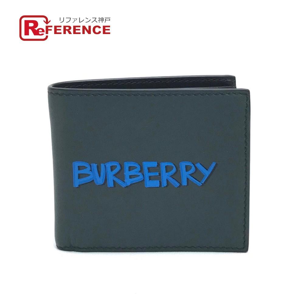 BURBERRY バーバリー 4077162 札入れ 財布 グラフィティ ロゴ 二つ折り財布(小銭入れなし) レザー ダークグリーン系 メンズ【中古】