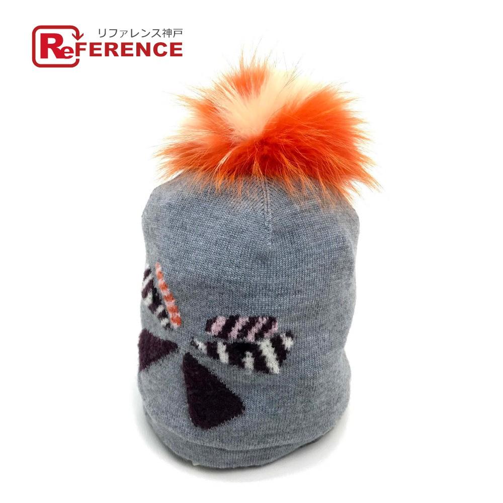 FENDI フェンディ FX0538 メンズ レディース ニット帽 FOX フォクス ファー 帽子 ウール / フォックスファー グレー ユニセックス 未使用【中古】