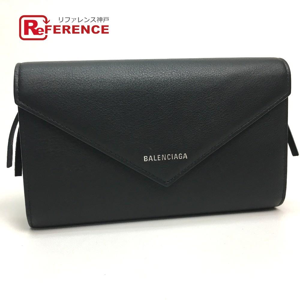 BALENCIAGA バレンシアガ 371661 フラップ ジップアラウンド ペーパーマニー 長財布(小銭入れあり) レザー ブラック レディース【中古】