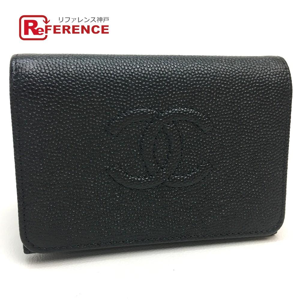 CHANEL シャネル A70796 ミニ財布 コンパクトウォレット 三つ折り財布(小銭入れあり) キャビアスキン ブラック レディース 未使用【中古】
