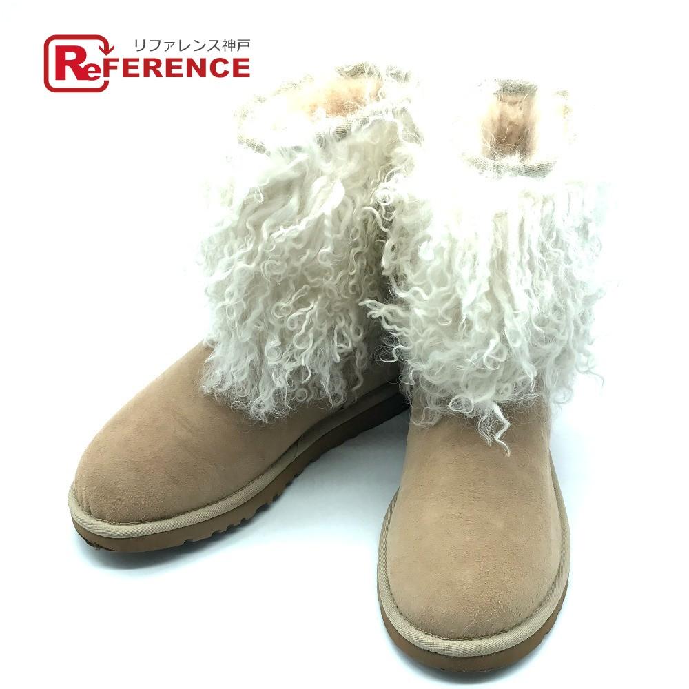 UGG アグファッション 靴 ムートンブーツ クラシックショート ファー付き ブーツ シープスキンベージュ レディースrdeWCBox