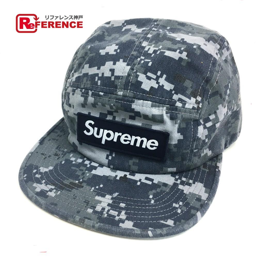 Supreme シュプリーム 17FW Supreme NYCO Twill Camp Cap キャンプキャップ カモフラージュ ツイル 帽子 ネイビー系 メンズ 未使用【中古】