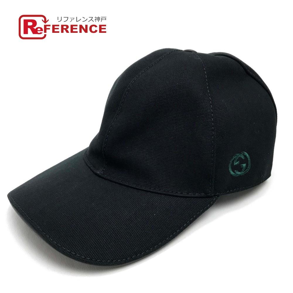 GUCCI グッチ メンズ レディース ベースボールキャップ GG ロゴ シェリーライン 帽子 キャンバス ブラック ユニセックス 未使用【中古】