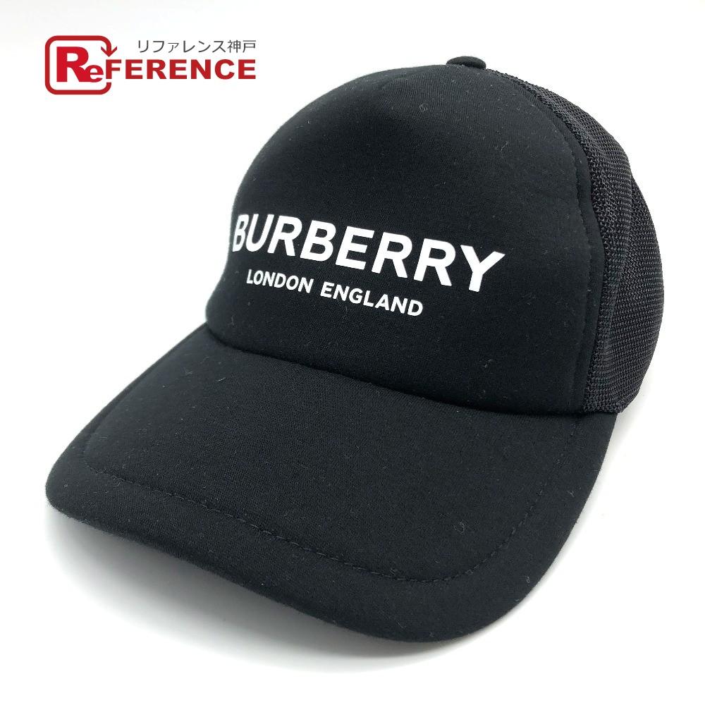 BURBERRY バーバリー 8019216 TRUCKER LOGO ベースボール メッシュ トラッカー ロゴプリント 帽子 レーヨン ブラック メンズ 新品同様【中古】