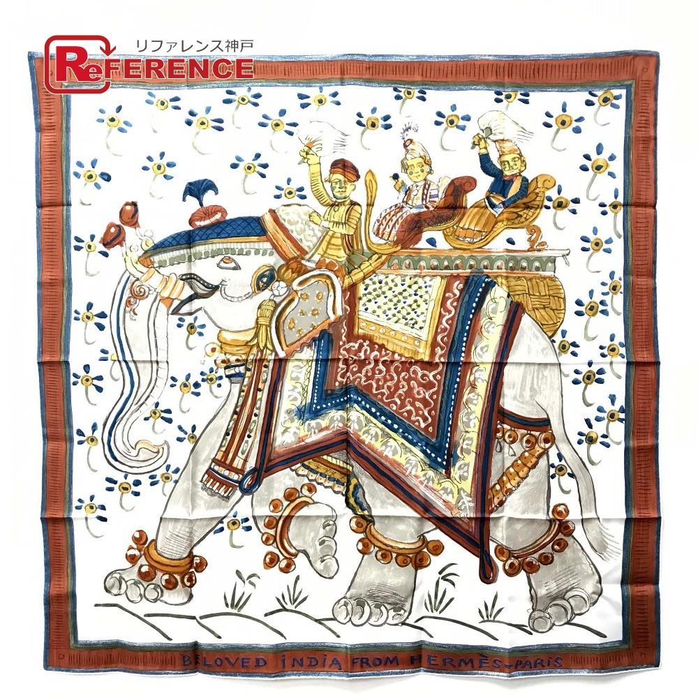 HERMES エルメス BELOVED iNDiA FROM HERMES PARIS カレ 深いインドの愛/愛すべきインド スカーフ シルク ホワイト レディース【中古】