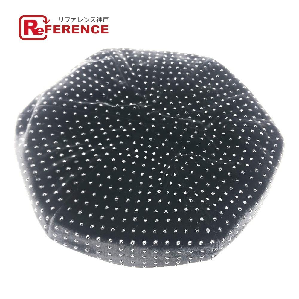 SAINT LAURENT PARIS サンローランパリ 593081 ベレー帽 レディース 帽子 ラインストーン ブラック レディース 未使用【中古】