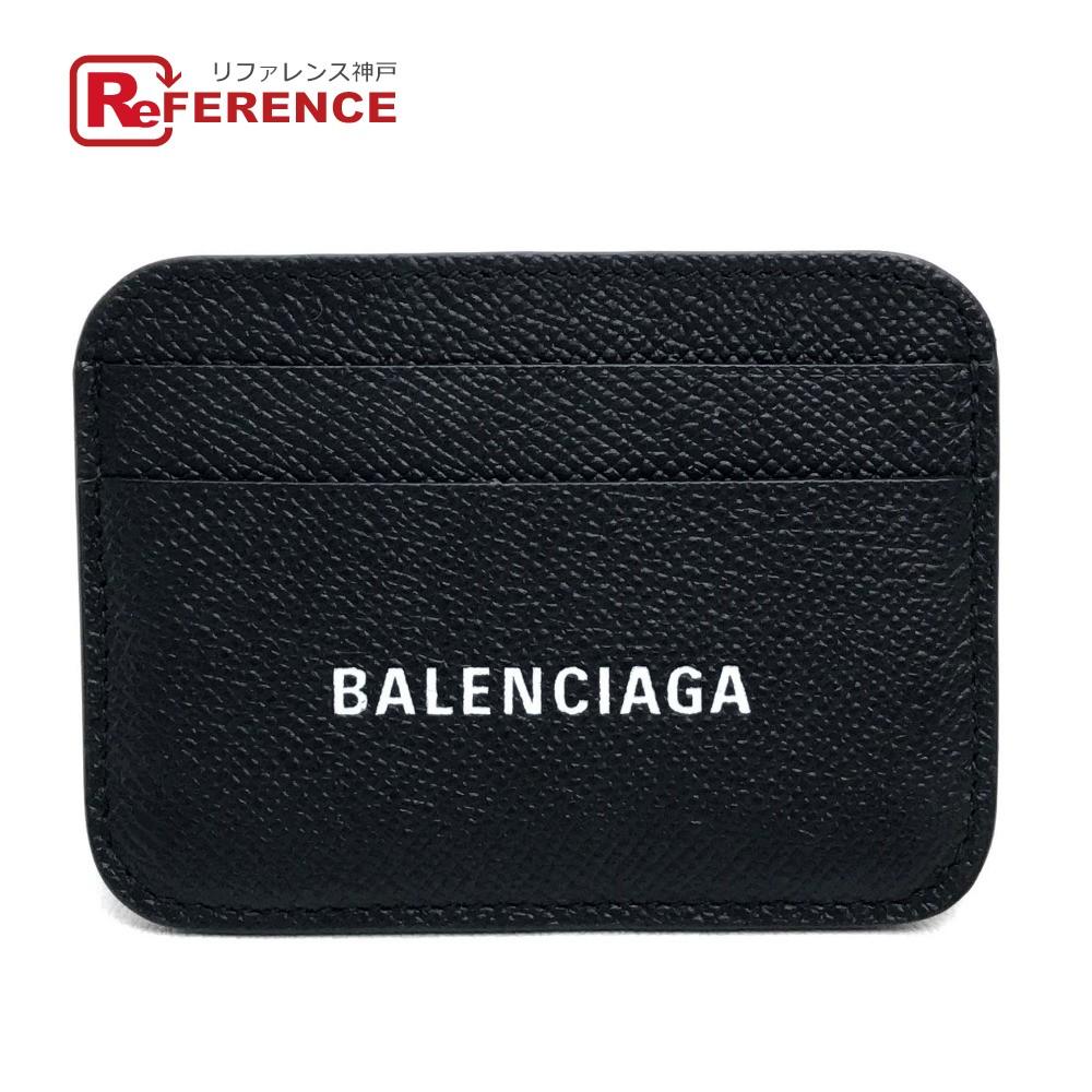 BALENCIAGA バレンシアガ 593812 ロゴ 名刺入れ 定期入れ パスケース キャッシュ カードホルダー メンズ レディース カードケース レザー ブラック ユニセックス 未使用【中古】