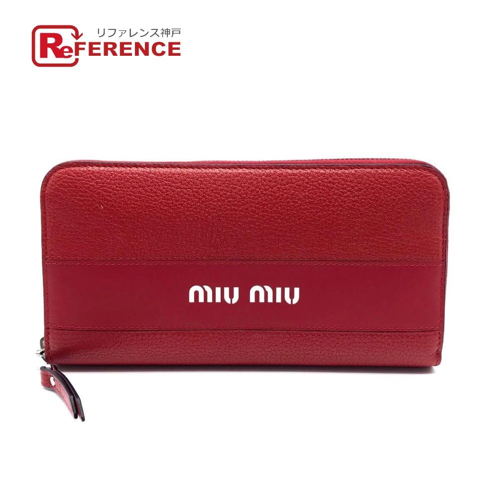 MIUMIU ミュウミュウ 5ML506 ジップアラウンドウォレット 財布 MADRAS+CITY CAL マドラス ロゴ 長財布(小銭入れあり) レザー レッド ユニセックス 新品同様【中古】