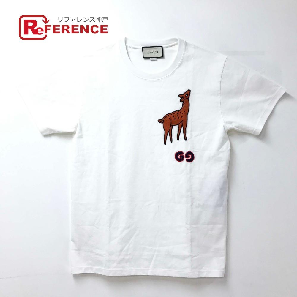 GUCCI グッチ 548334 19AW ディア パッチ オーバーサイズ Tシャツ シカ トップス 半袖Tシャツ コットン ホワイト メンズ 未使用 【中古】