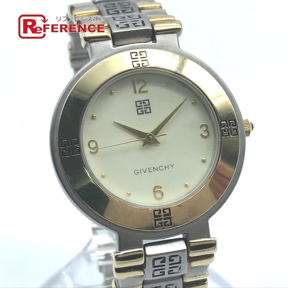 GIVENCHY ジバンシー メンズウォッチ LIFE ロゴベルト 腕時計 SS×GP メンズ ゴールド×シルバー 【中古】