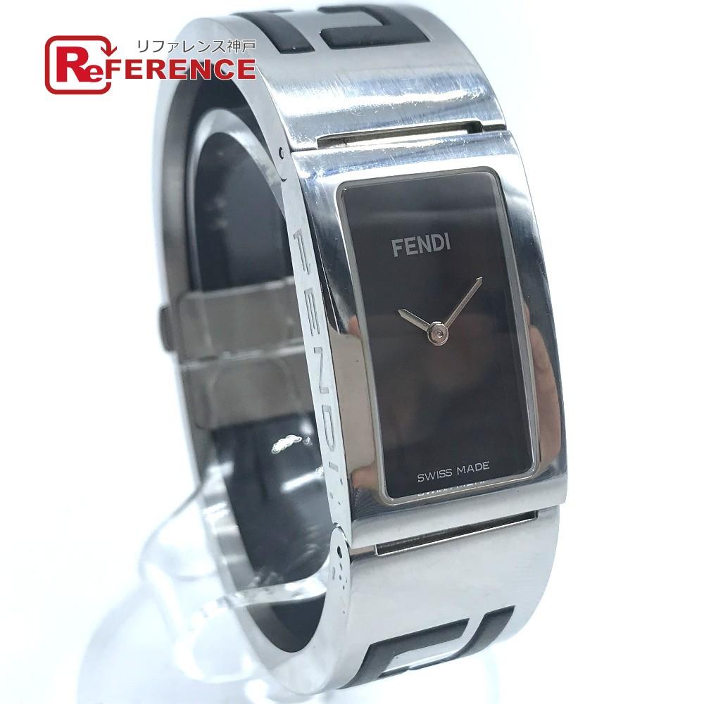 FENDI フェンディ 3250L バングルブレスレット FF柄 バングルウォッチ 腕時計 SS / ラバー レディース シルバー×ブラック 【中古】
