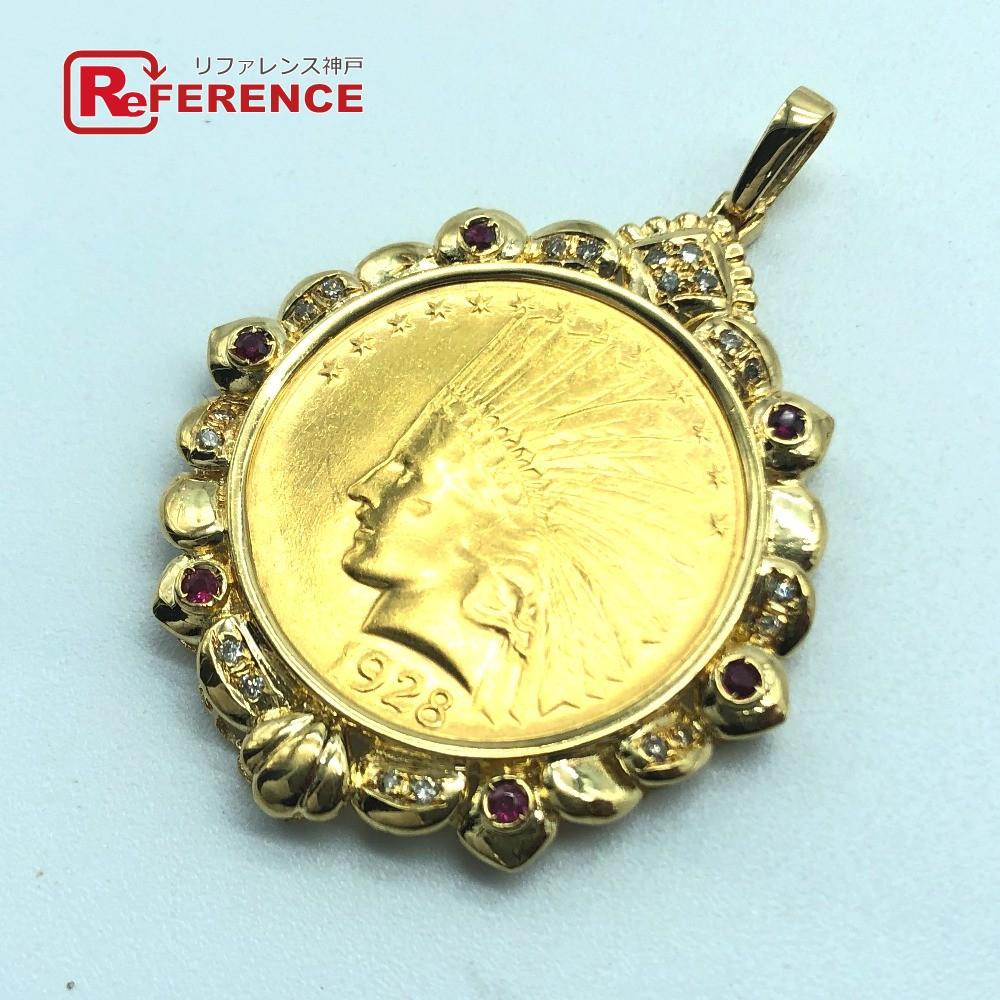 jewelry ジュエリー インディアンコイン 1928 アメリカ 10ドル ダイヤ ルビー6P ペンダントトップ ユニセックス ゴールド 【中古】