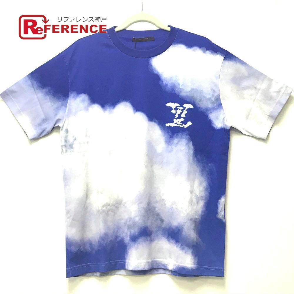 LOUIS VUITTON ルイヴィトン 1A89U5 LV ロゴ クラウドプリント トップス 半袖Tシャツ コットン メンズ ブルー×ホワイト 【新品】