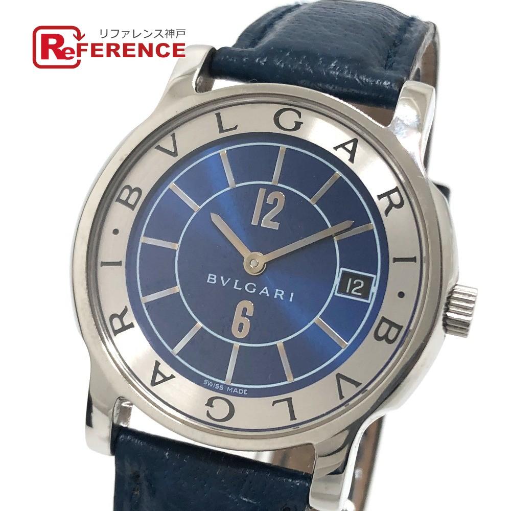春のコレクション BVLGARI ブルガリ ST35S JAL機内販売限定 ソロテンポ メンズ腕時計 腕時計 SS×革ベルト メンズ シルバー×ブルー 【】, ふとん工房 アトリエmoon deefeda1