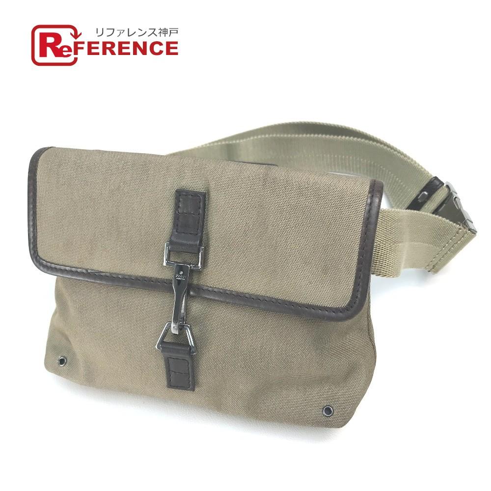 中古 ボディバッグ 鞄 かばん GUCCI グッチ ヒップバッグ ウエストバッグ ベルトバッグ あす楽対応 オンラインショッピング ユニセックス ミニバッグ 売り出し キャンバス×レザー 送料無料 92543 ブラウン×ベージュ系