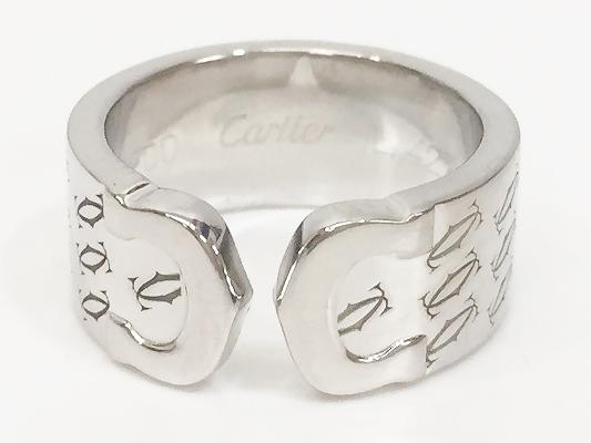 Cartier カルティエ 2000年クリスマス限定 K18WG 2Cリング 48 美品【中古】 KK