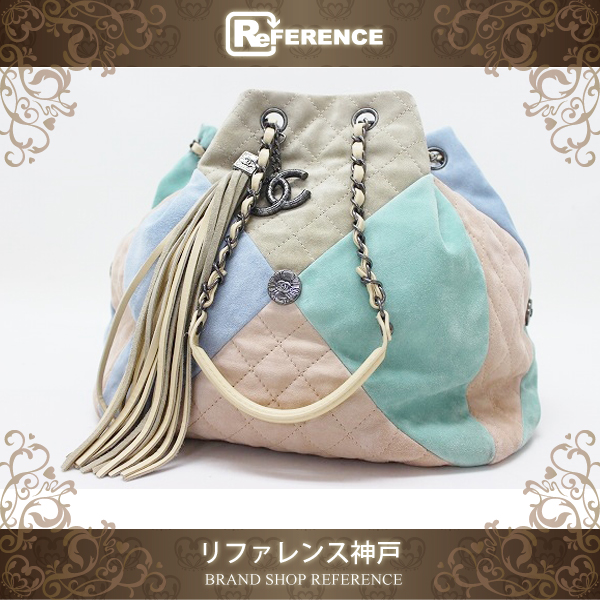 CHANEL シャネル スエード パッチワーク 巾着チェーンハンドバッグ マルチカラー 【中古】