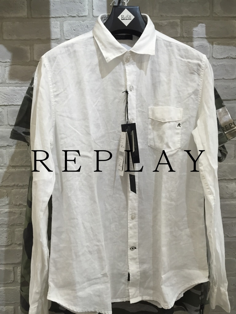 『REPLAY』麻長袖ブラウス『REPLAY』長袖(リプレイ)ホワイト大人気シャツ(1万以上のお買い上げで送料無料)(父の日ラッピング無料)