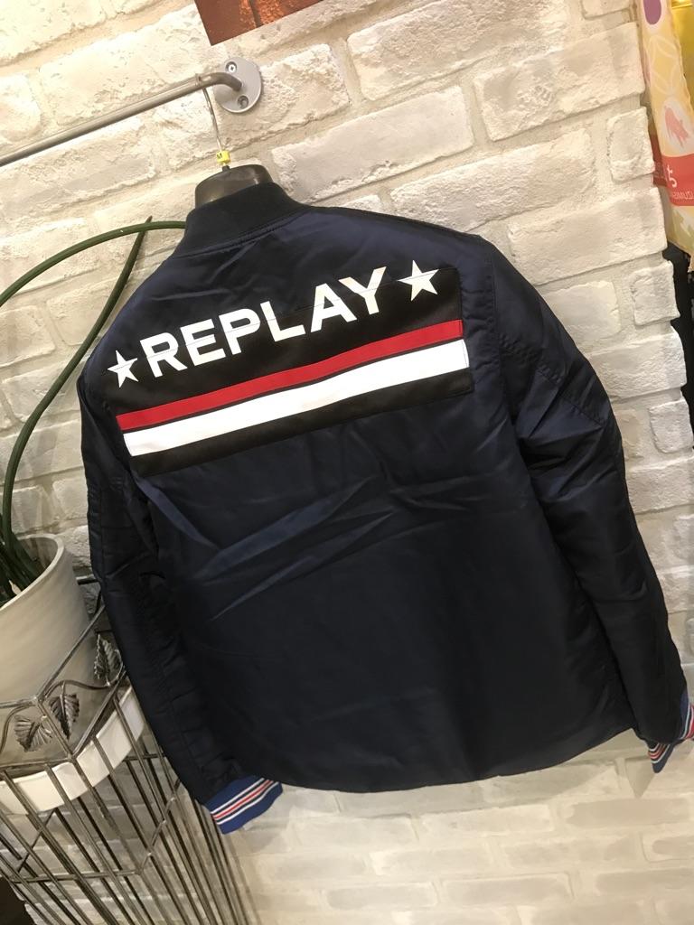 メンズ『REPLAY』ブルゾン『ネイビー』(リプレイ)大人気(1万以上のお買い上げで送料無料)(ラッピング無料)M8945-000-83118-086-54000