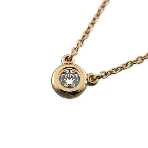 中古 TIFFANY Co. Tiffany ティファニー バイザヤード 正規品 ダイヤネックレス アクセサリー ブランドジュエリー ピンクゴールド キャンペーンもお見逃しなく ダイヤモンド 2.4g BJ AU750
