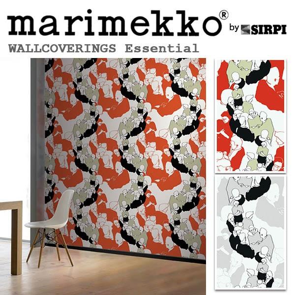輸入壁紙/フィンランド(生産はイタリア)製/Essential(エッセンシャル):marimekko(マリメッコ)メーカー品番:13000,13001/YSTAVAT(ユスタヴァット)/1ロール(巾70cmX10.05m)単位販売/不織布PVCコーティング