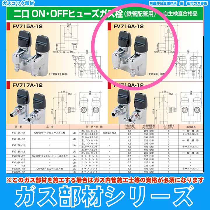 * [FV716A-12] 藤井合金 都市ガス用 露出型ヒューズガス栓 2口 LBタイプ 大阪ガス指定 あす楽