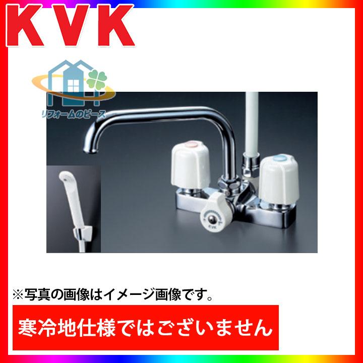 [KF14ER3] KVK 水栓 デッキ形2ハンドルシャワー 台付きタイプ 浴室用 300mmパイプ付 蛇口 一般地 [北海道沖縄離島除き送料無料]