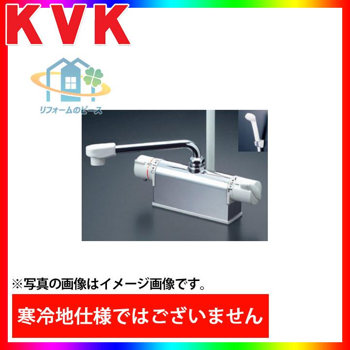 [KF771NR3] KVK 水栓 サーモスタット式シャワー 浴室用 デッキ形 300mmパイプ付 蛇口 一般地 台付きタイプ 逆止弁 Superサーモ [北海道沖縄離島除き送料無料]