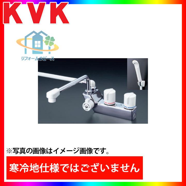 [KF207R] KVK 水栓 2ハンドルシャワー 浴室用 デッキ形 右側シャワー 蛇口 一般地 台付きタイプ 逆止弁 一時止水付 [北海道沖縄離島除き送料無料]