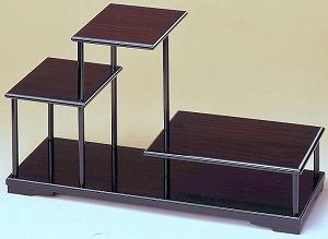 飾り棚3段 花台 木製 床の間 約幅60X奥行20X高33.2cm 和風