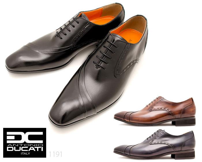 アントニオドゥカティ DC1191 メンズビジネスシューズ ANTONIO DUCATI ブラック ダークブラウン ネイビー ホールカット 本革 3E 靴