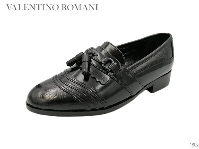 VALENTINO ROMANI バレンチノロマーニ 1802 タッセルローファー ブラック/本革ビジネスシューズ/本革カジュアルシューズ