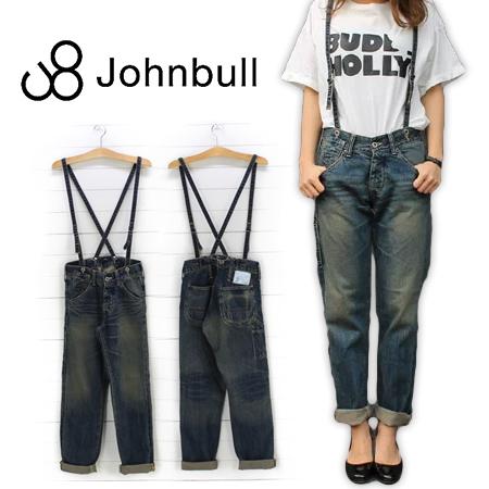 Johnbull(ジョンブル)レディース サスペンダー ワークパンツ AP538(ユーズド)
