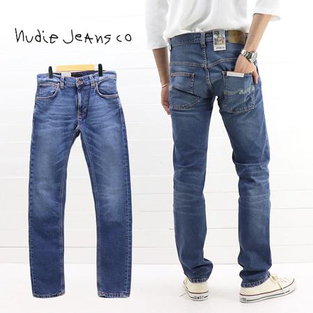 ≪30%OFF&送料無料≫再値下げ Nudie Jeans MENS THIN FINN SLIM FIT MID BLUE ECRU 49161-1126 / ヌーディージーンズ メンズ シンフィン スリムフィット ミッドブルー エクリュ 49161-1126