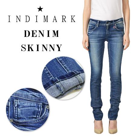 INDIMARK LADIES FLAP ZIP POCKET DENIM SKINNY W005-9 / インディマーク レディース フラップジップポケット デニムスキニー W005-9