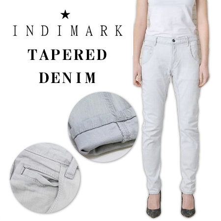 INDIMARK LADIES BLEACH WHITE TAPERED DENIM  W057-1 / インディマーク レディース ブリーチ ホワイト テーパードデニム W057-1
