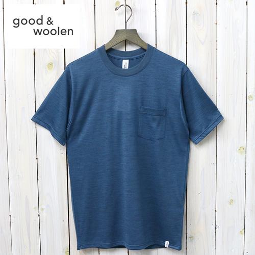 【最大15%OFFクーポン配布中】GOOD & WOOLEN (グッドアンドウーレン)『S/S POCKET TEE』(BLUE HEATHER)【正規取扱店】【smtb-KD】【sm15-17】【ポケットTEE】【ポケットTシャツ】【メリノウール】【Made in JAPAN】