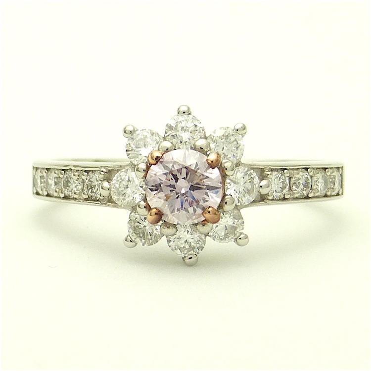ファンシーライトパープリッシュピンク ダイヤモンド プラチナリング ラウンド エンゲージ マリッジ