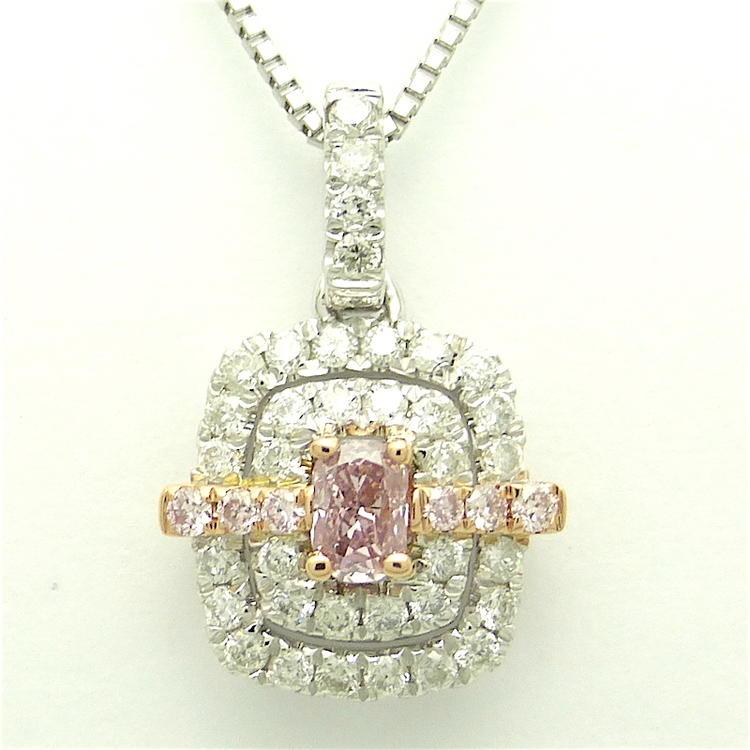 ファンシーピンク ダイヤモンド プラチナネックレス クッション