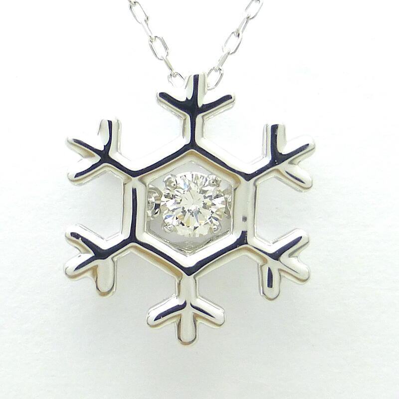 ダンシングストーン ダイヤモンド ホワイトゴールド ネックレス K10WG D0.05ct 結晶 クロスフォー