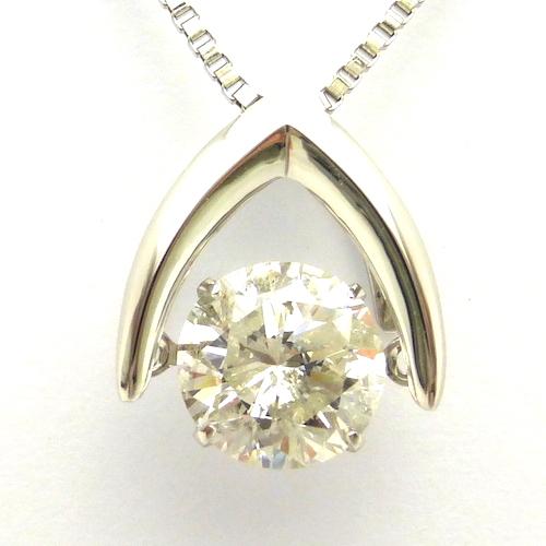 1カラット ダンシングストーン ダイヤモンド ネックレス1ct×プラチナ 揺れる 一粒 トゥインクルセッティング クロスフォー