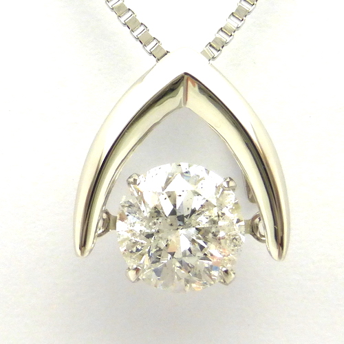 1カラット ダンシングストーン ダイヤモンド ネックレス 1ct×プラチナ 揺れる 一粒 大粒 トゥインクルセッティング クロスフォー