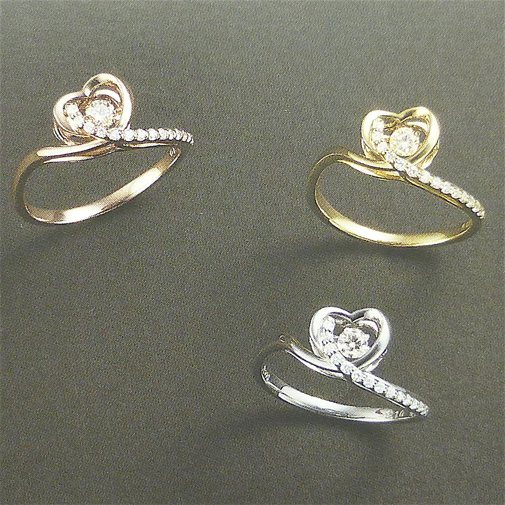 ダンシングストーン ダイヤモンド0.1ct ハートモチーフプラチナリング ホワイトデー WG/PG/YG/PT お選び頂けます。クロスフォー