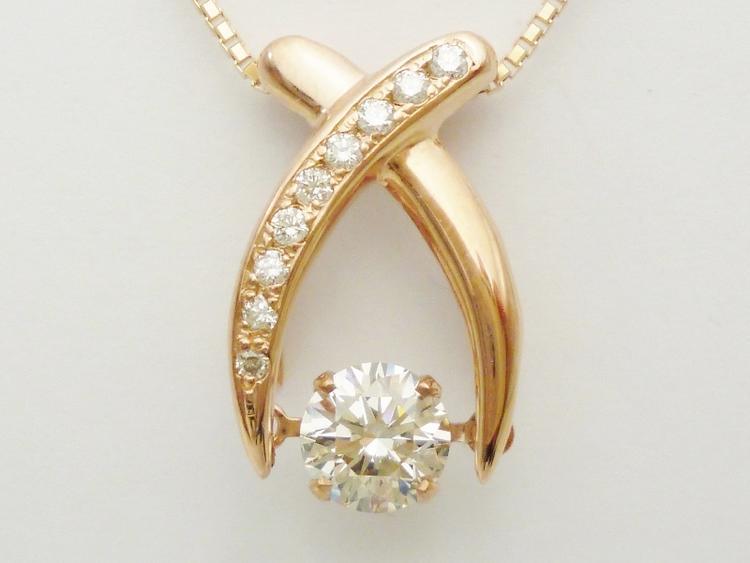 ダンシングストーンダイヤモンドネックレス ダイヤモンド0.5ct×ダイアモンド0.08ct×K18PG ソーティングメモ付き